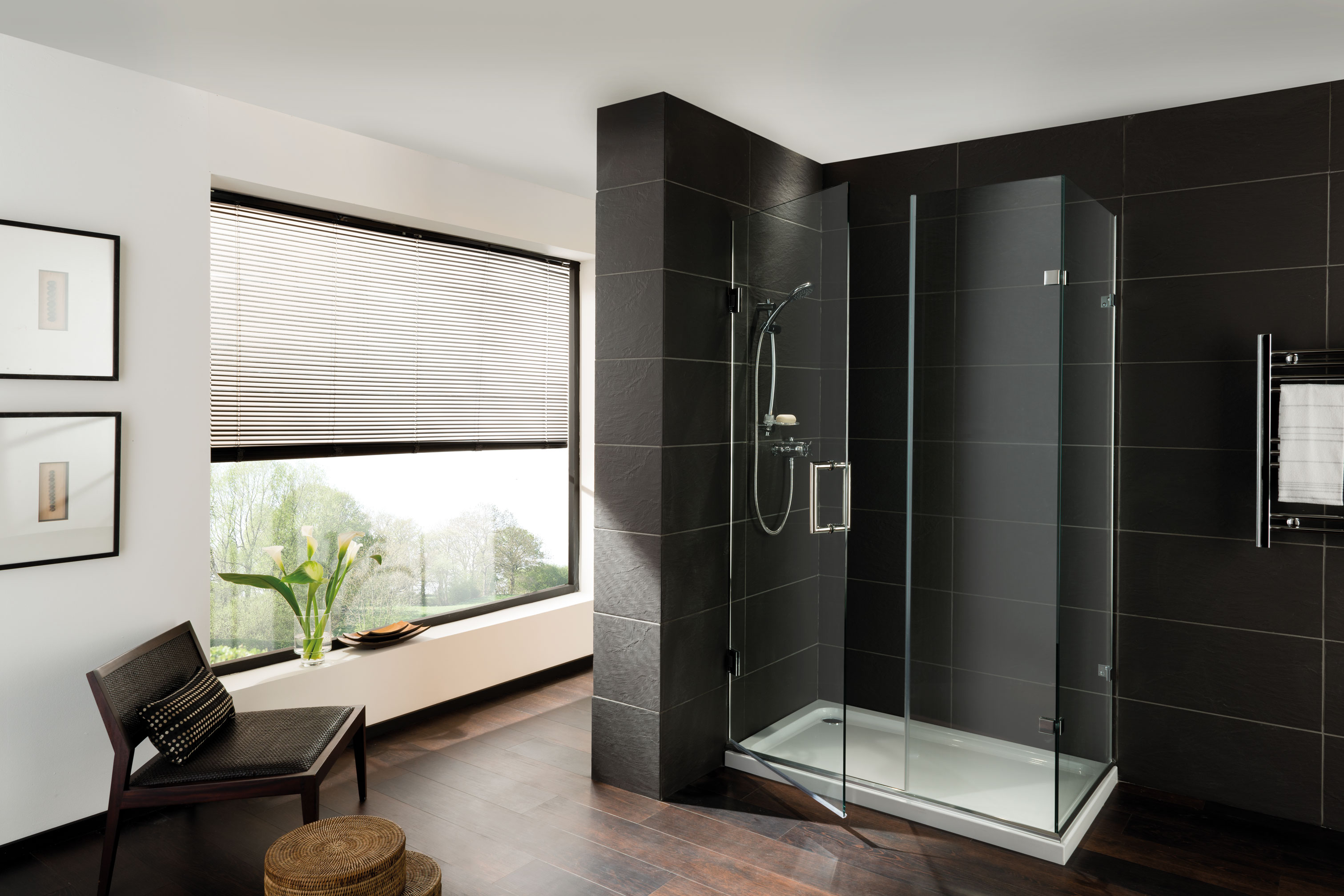Orchard shower screens with door hinged from the wall with in-line and fixed return at 90 degrees
